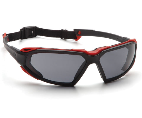 Safety Glasses with Gray Anti-fog Lens and Red/Black Frame