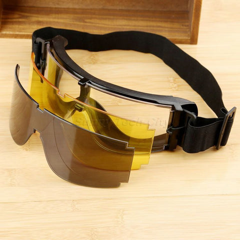 Tactical SWAT Goggles with 3 Color Lens
