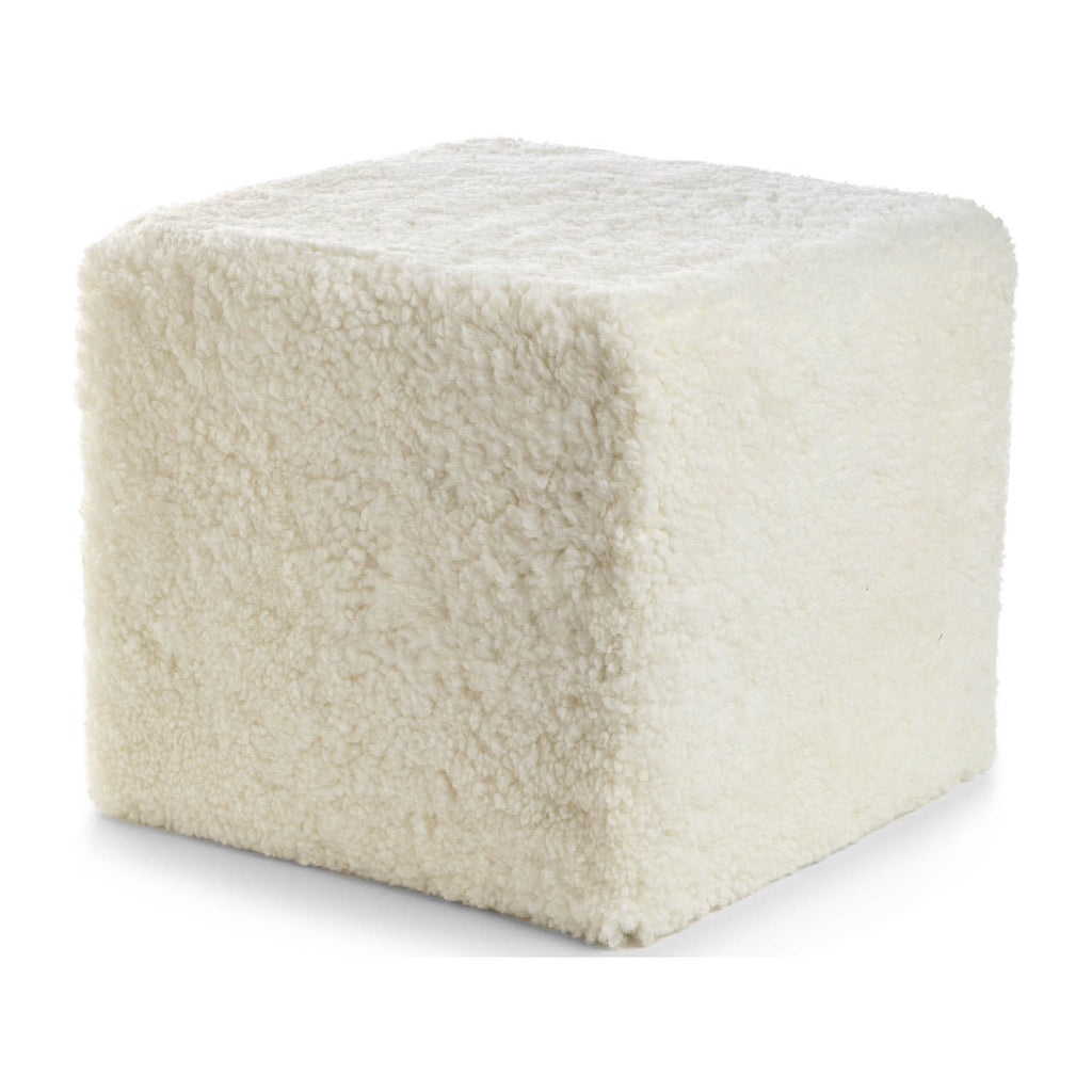White sheepskin cube pouf