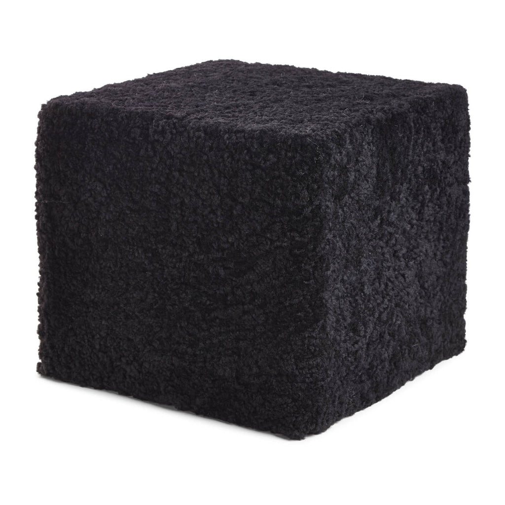 Black sheepskin cube pouf