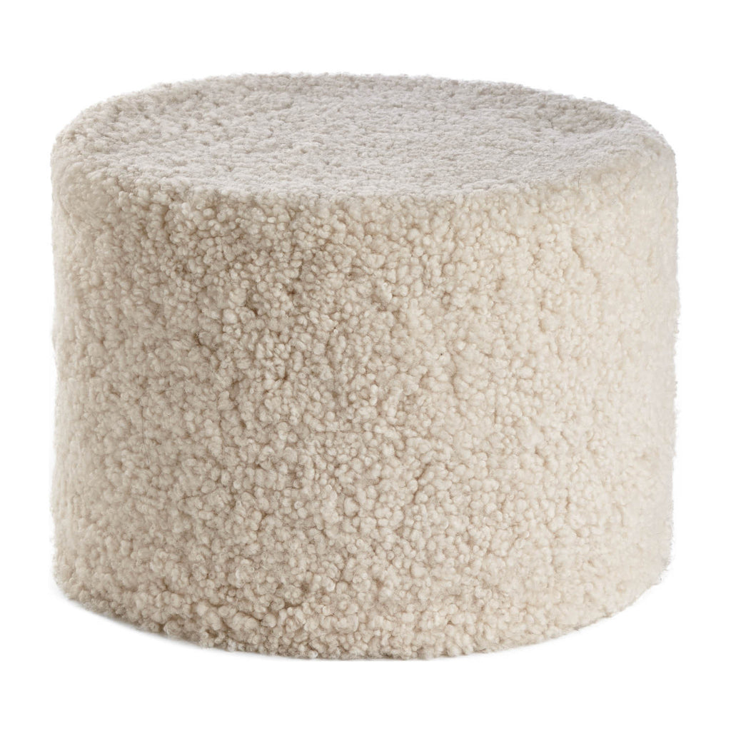 Linen curly sheepskin pouf from New Zealand