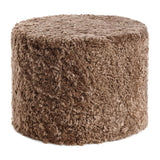 Taupe curly sheepskin pouf from New Zealand