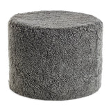 Graphite curly sheepskin pouf from New Zealand