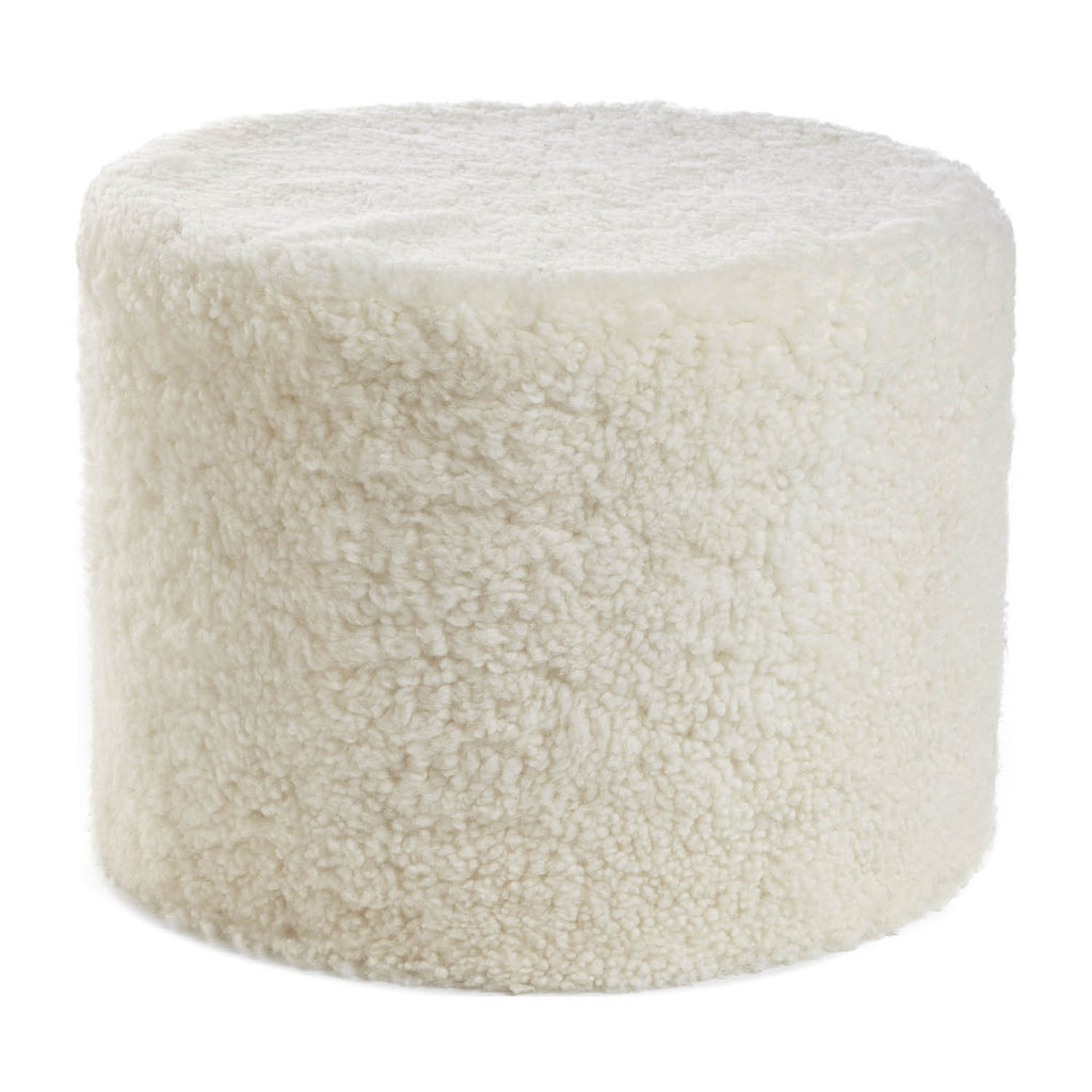 White curly sheepskin pouf from New Zealand