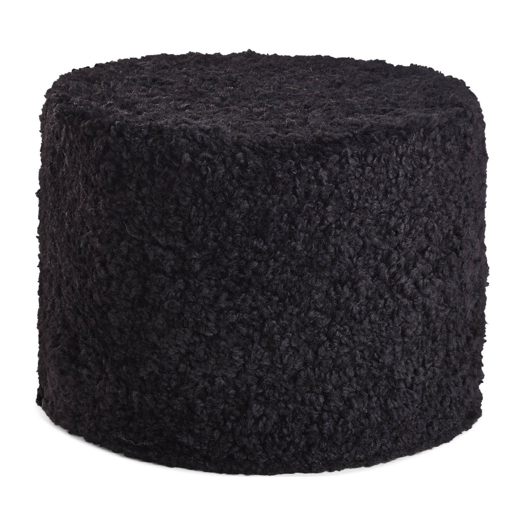 Black curly sheepskin pouf from New Zealand