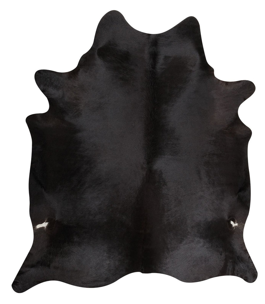 Solid Black cow hide rug