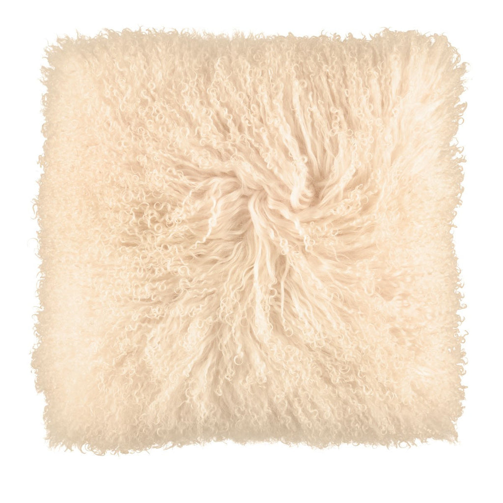 Single Sided 16 x 16 Inches Sheepskin Cushion from Tibet | Curly