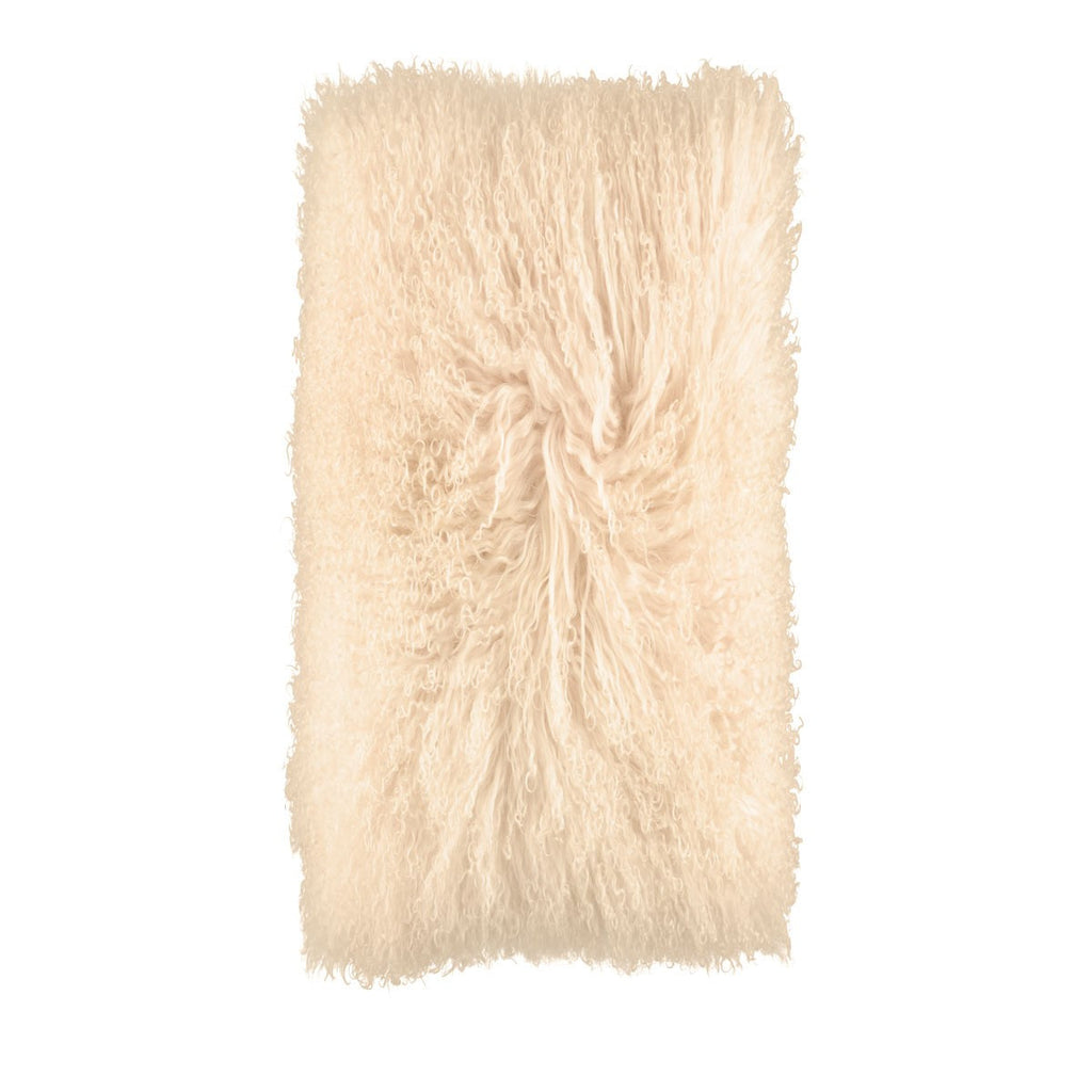 11 x 22 Inches Sheepskin Cushion from Tibet | Curly