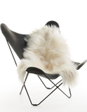 White Icelandic sheepskin long wool