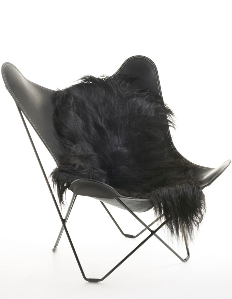 Black Icelandic sheepskin long wool