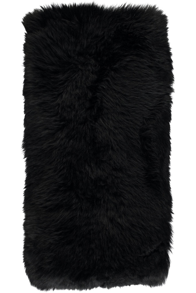 Black Large New Zealand Sheepskin Cushions