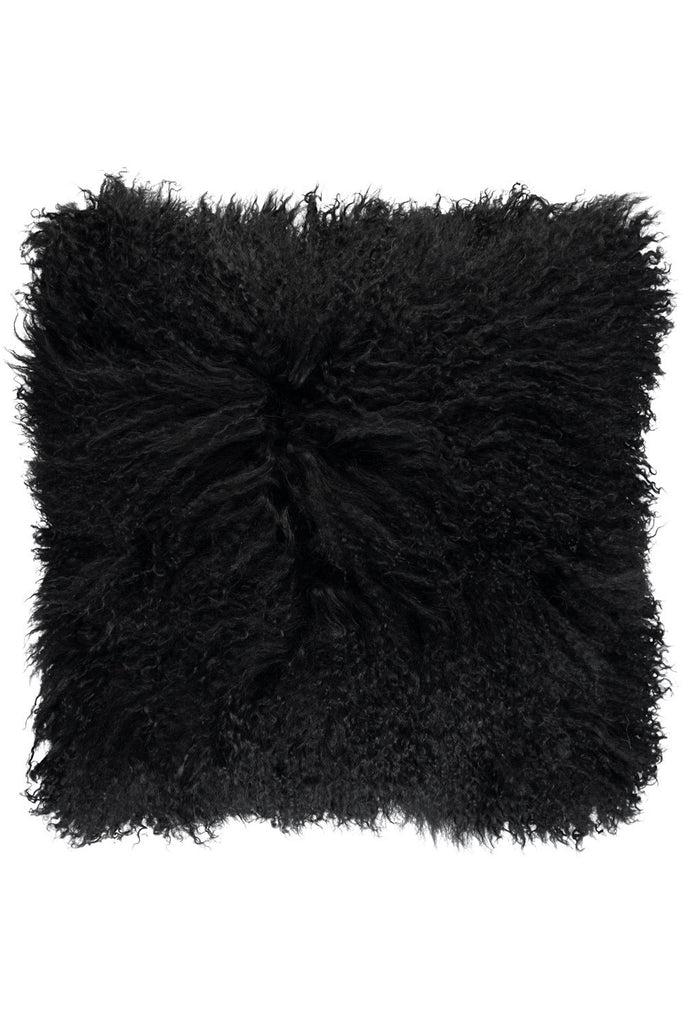 Black Tibetan Sheepskin Cushions