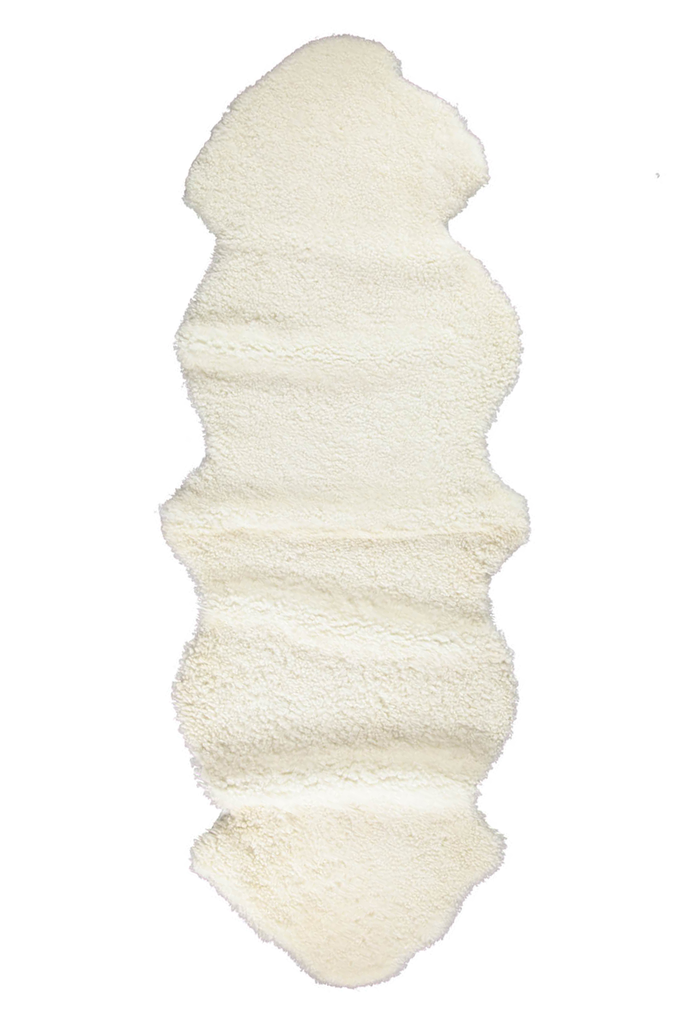White double short wool sheepskin rug