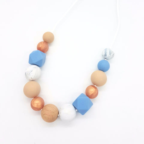 Powder Blue & Rose Gold Necklace