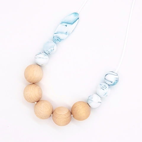 Teal Marble Marquise Necklace