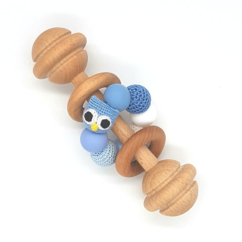 Baby Blue Owl Vintage Rattle