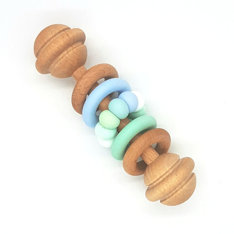 Mint, Duck Egg & Blue Vintage Rattle