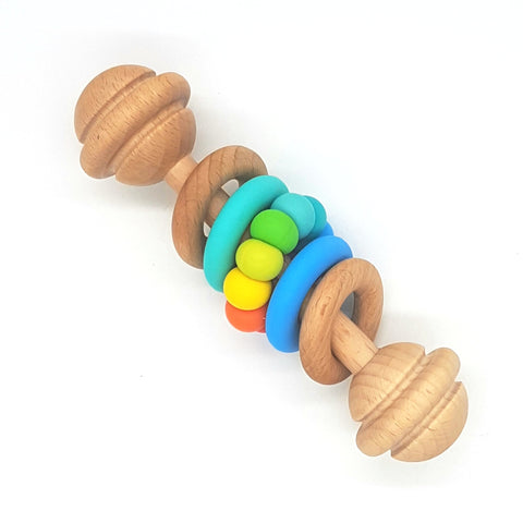 Bright Rainbow Vintage Rattle