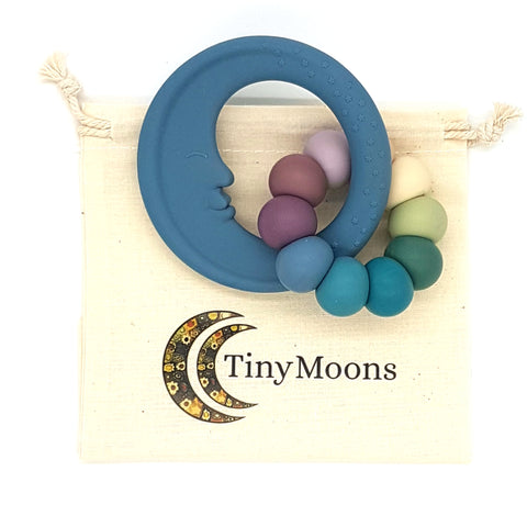 Storm Blue & Vintage Rainbow Man in the Moon Teether