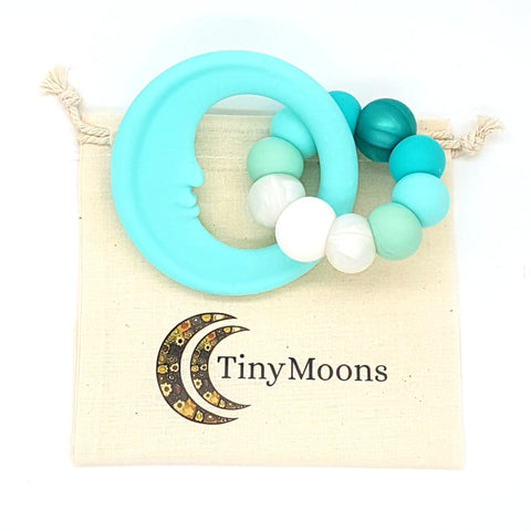 Seafoam & Turquoise Man in the Moon Teether