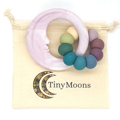 Ash Rose Marble & Vintage Rainbow Man in the Moon Teether