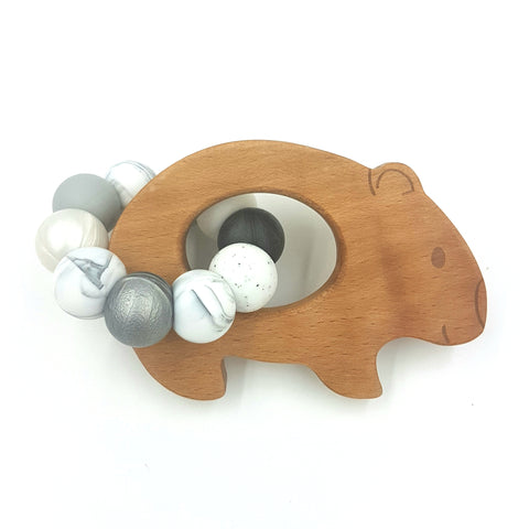 Wholesale Monochrome Wombat Teether