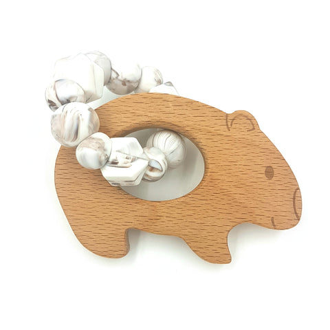 Wholesale Caramel Marble Wombat Teether