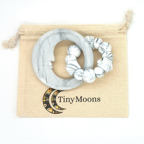 Grey Marble Man in the Moon Teether