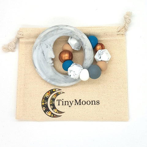 Grey Autumn Man in the Moon Teether