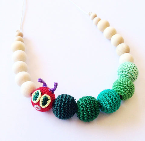 Tiny Caterpillar Crochet and Wood Necklace