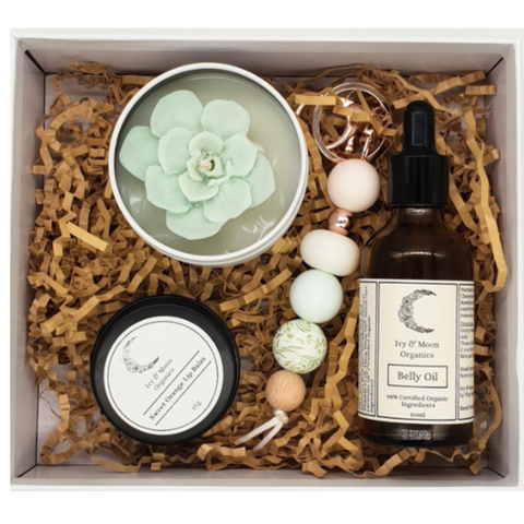Belly Oil & Succulent Candle Gift Set
