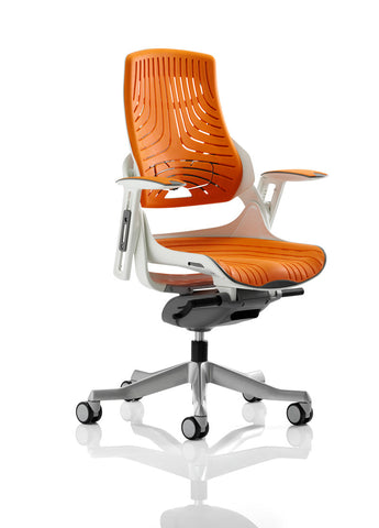 Zephyr Executive Chair Elastomer Gel Orange With Arms