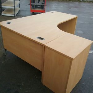 Large beech left hand turn desk with pedestal