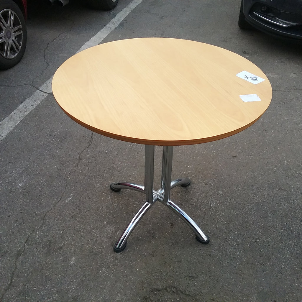 Beech circular table with chrome stand