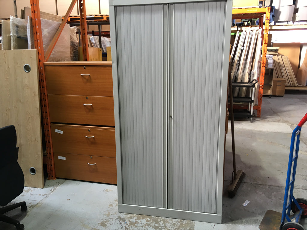Tall metal grey tambour