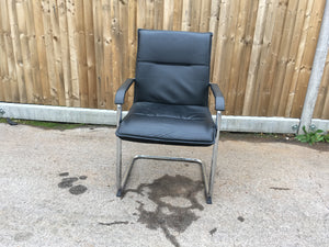 Black Leather Effect Visitor Chair