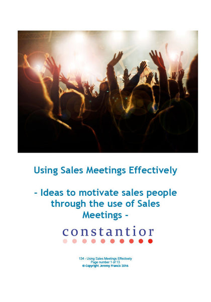 Using Sales Meetings Effectively