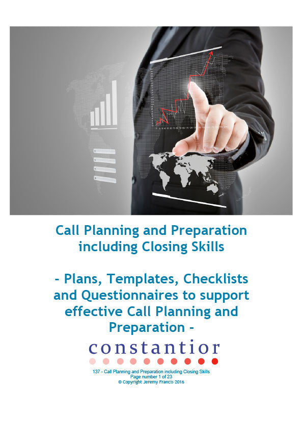 Call Planning & Preparation including Closing Skills