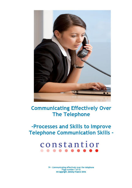 Communicating Effectively Over the Telephone