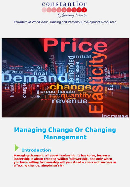 Managing Change Or Changing Management