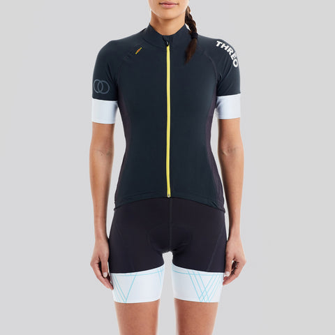 ladies grey blue cycling jersey with pockets