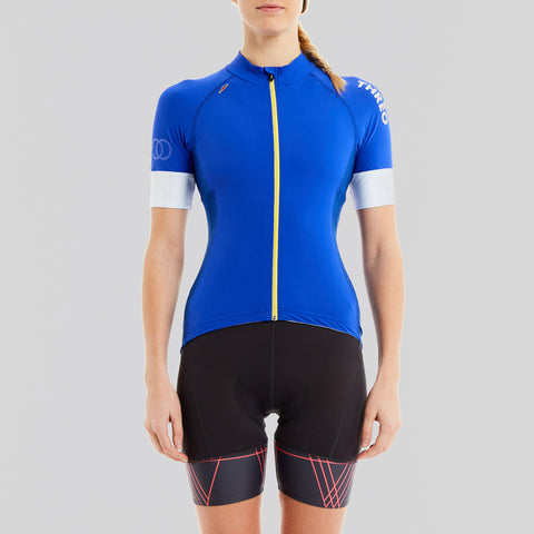ladies blue cycling top with pockets