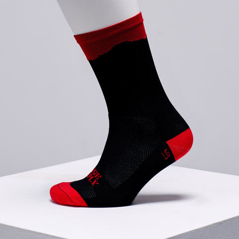 black and red cycling socks
