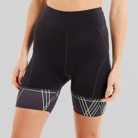 womens grey padded cycling shorts with blue and yellow detail