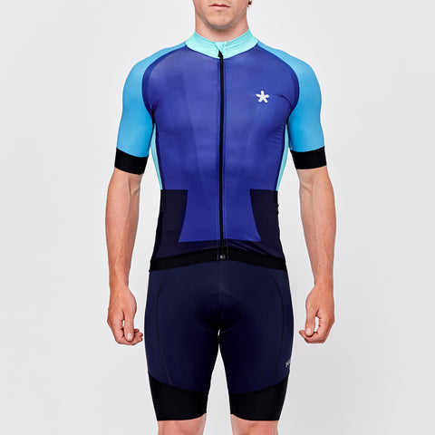 Bright blue performance cycling jersey by Huez on OMNIUM