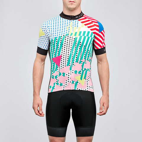 Men's eighties colourful print cycling jersey on OMNIUM