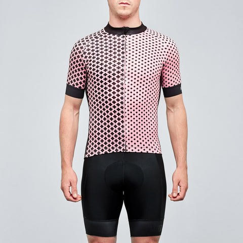 pink and black graphic mens cycling jersey on omnium
