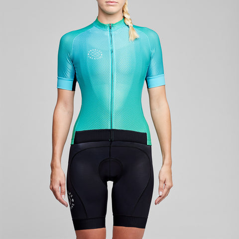 cyan blue green colour fade cycling jersey