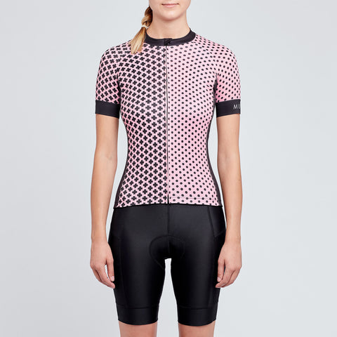 Womens pink and black cycling jersey