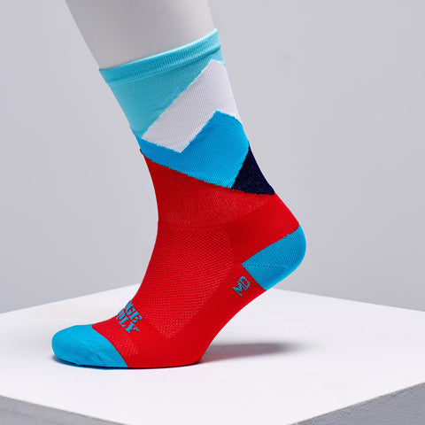 red white and blue cycling socks